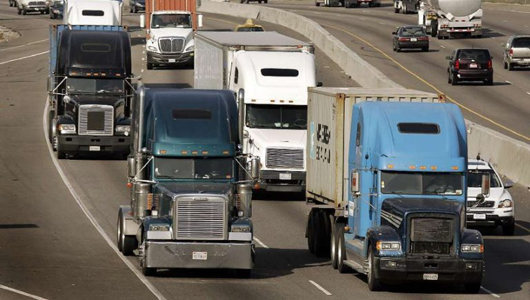 Trucks driving on the road after training
