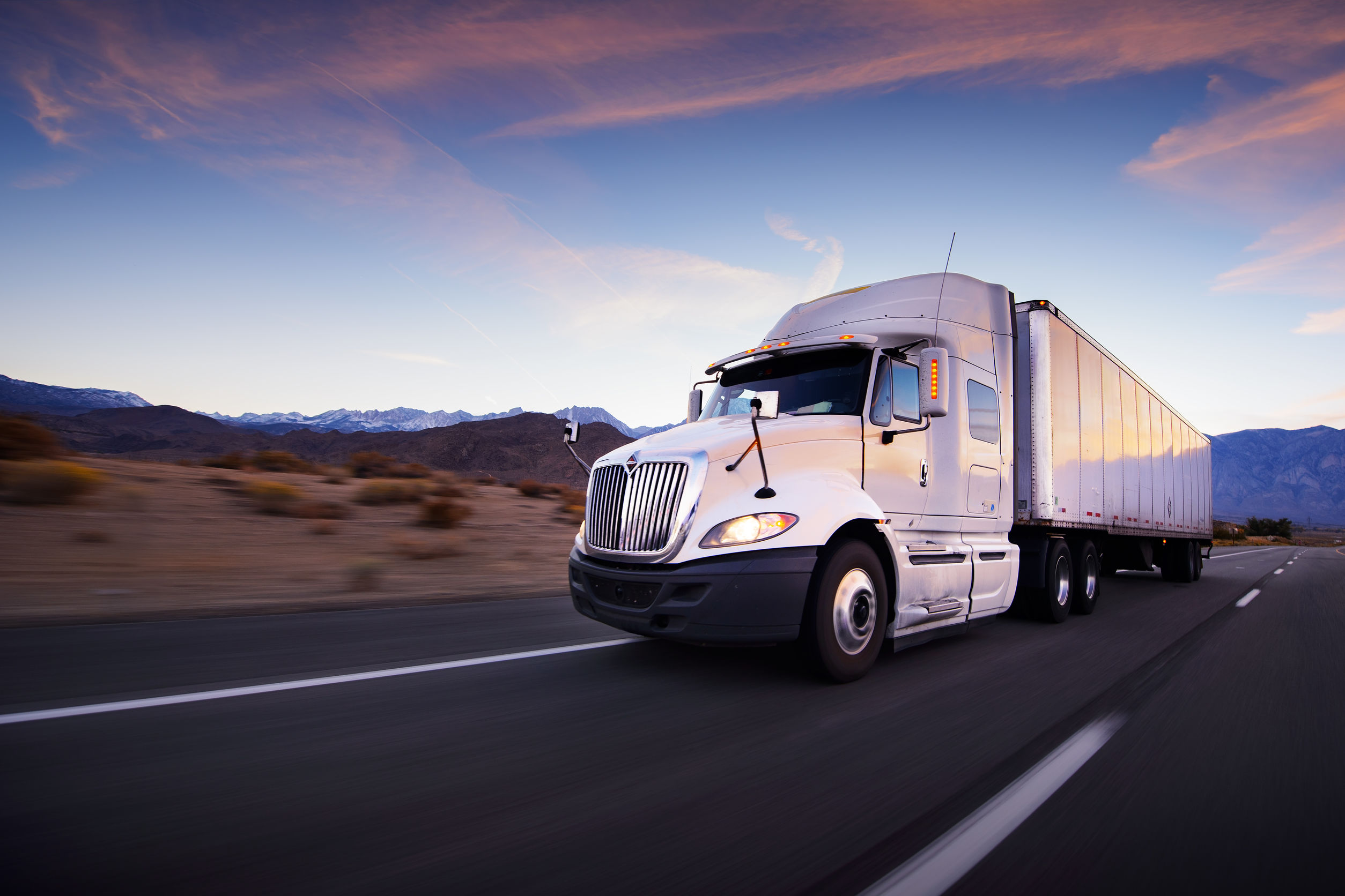 Truck Driving on Open Highway for Training